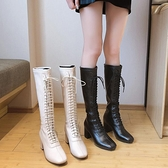 高筒長靴女過膝2021秋冬季新款粗跟小個子加絨高跟顯瘦馬丁靴中筒 8號店