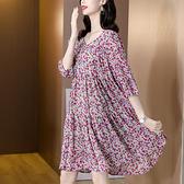 洋裝 中年媽媽裙子紫色連身裙女夏裝碎花寬松顯瘦氣質雪紡大碼胖MM孕婦裙子N118韓衣裳
