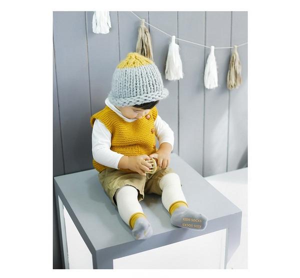 [韓風童品] 拼色松口毛圈襪 兒童防滑點膠襪 男女童嬰幼兒寶寶防滑襪 童襪 寶寶襪