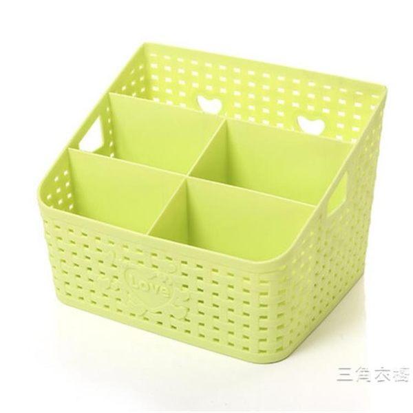 收納箱藤編桌面化妝品收納箱炫彩時尚桌面整理盒雜物收納箱置物盒