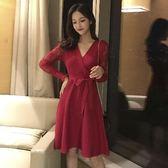 洋裝 韓版 法式紅色中長款針織拼接網紗連身裙 婚禮小禮服 花漾小姐【預購】