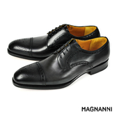 【MAGNANNI】經典橫飾紳士皮鞋 黑色(15393-BL)