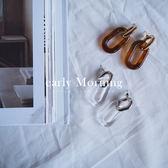 early Morning - 個性 鏈條 環形扣 壓克力耳環 透明 日系【VL013】