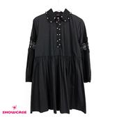 【SHOWCASE】蕾絲襯衫領造型長袖長版襯衫洋裝(黑)