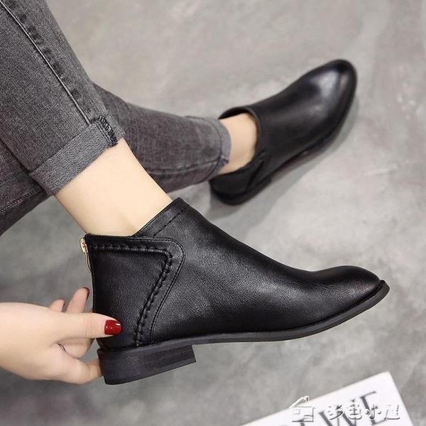 短靴女靴子女短靴單鞋單靴秋冬季馬丁靴女新款百搭女鞋英倫風皮鞋 快速出貨