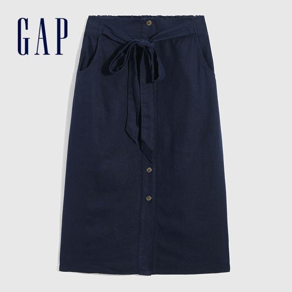 Gap女裝 亞麻混紡單排扣長裙 577581-靛藍色