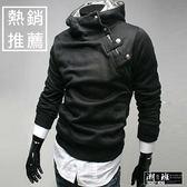 『潮段班』【HJ123001】韓版新款純色兔毛領高領斜拉鍊側鈕扣加絨加厚連帽外套