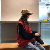 學院風V領針織馬甲女秋季2018新款韓版學生寬鬆套頭無袖衛衣背心  易貨居