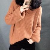 羊毛衫 秋裝新款正韓寬鬆v領女士毛衣內搭針織打底衫外穿上衣-Ballet朵朵