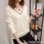 針織衫女套頭短款韓版寬鬆2020秋裝新款長袖女士V領小清新毛衣  圖拉斯3C百貨