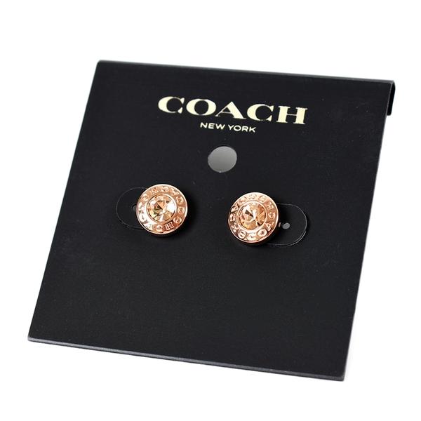 美國正品 COACH 圓型LOGO水鑽針式耳環-玫瑰金【現貨】