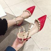 大碼低跟 漆皮鉚釘淺口尖頭低跟單鞋紅色35-41 - 古梵希鞋包
