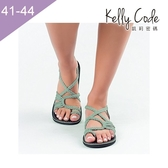 大尺碼女鞋-凱莉密碼-歐美流行繩結編織防水透氣平底涼鞋3cm(41-44)【SR555】綠色