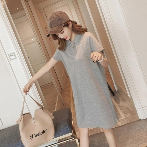 POLO領洋裝 2020夏季新款時尚短袖洋裝女大碼寬松顯瘦中長款polo領一步裙子 果果生活館