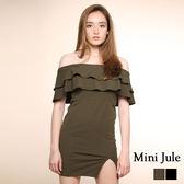 洋裝 一字荷葉領側開衩洋裝 小豬兒 Mini Jule【YJA81005015】現貨+預購