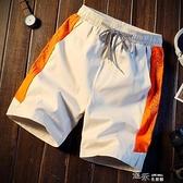 夏季海邊度假刺繡字母沙發褲男寬鬆情侶泳褲五分短褲 【全館免運】