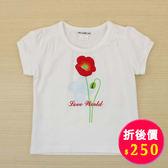 【愛的世界】彈性圓領罌粟花印圖短袖T恤-白/2歲-台灣製- ★春夏上著