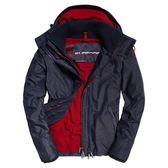 【蟹老闆】SUPERDRY 經典款 牛仔藍 內裡紅 防風外套 防潑水機能性風衣外套 有帽 男款