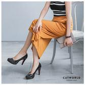 Catworld 正韓空運*鬆緊腰坑條七分寬褲裙【12001589】‧F