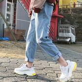 牛仔褲寬鬆女韓版學生 bf 百搭顯瘦淺色破洞褲女九分哈倫褲原宿風 【PINK Q】