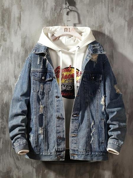 外套夾克 牛仔外套男韓版潮流春季潮牌寬鬆工裝休閒男士夾克上衣 果果生活館