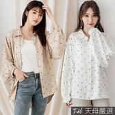 【天母嚴選】點點印花澎澎袖雪紡襯衫(共二色)