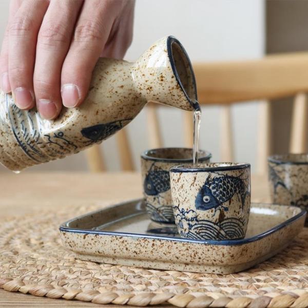 日式陶瓷清酒酒具白酒杯復古小酒盅燒酒壺酒杯套裝古風分酒器傳統 「夢幻小鎮」