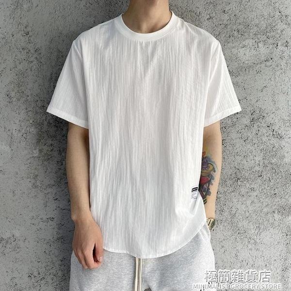 2021新款夏季短袖t恤男亞麻潮流冰絲上衣棉麻料百搭寬松半袖冰感 極簡雜貨