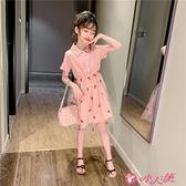 女童短袖洋裝 童裝女童短袖POLO連身裙夏裝2021新款中大童網紗裙洋氣女孩公主裙 小天使