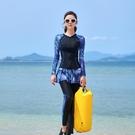 中大尺碼泳裝 大碼長袖游泳衣女胖mm浮潛防曬水母衣分體裙式保守潛水服長褲速干