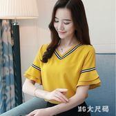 中大尺碼夏季新款韓版女裝寬鬆V領喇叭袖雪紡衫上衣服百搭短袖t恤小衫 QG4651『M&G大尺碼』