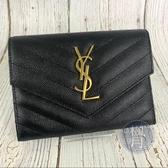 BRAND楓月 SAINT LAURENT YSL 466782 黑色 荔枝皮革 三折 卡夾包 護照夾 錢包