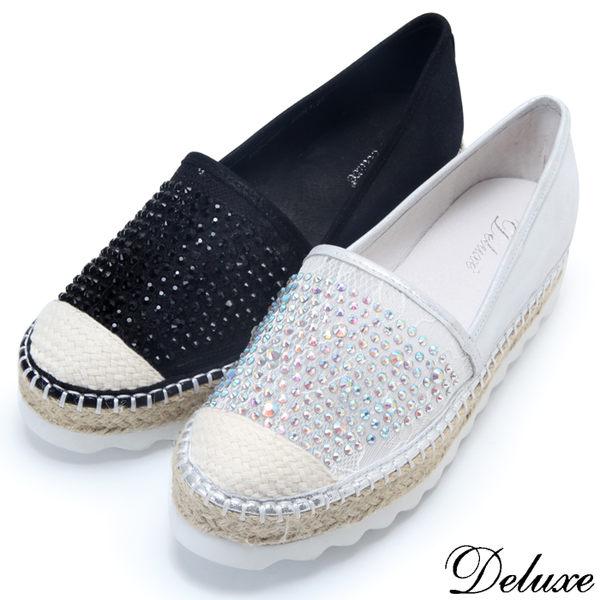 【Deluxe】全真皮雙拼蕾絲水鑽厚底漁夫鞋(黑-銀)