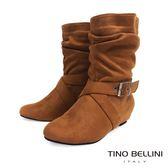 ★限時↘★Tino Bellini 休閒自在絨布抓皺內增高中筒靴(棕)_CL2121 2014AW 網路限定價