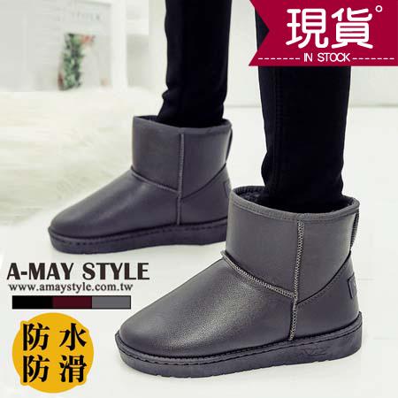 現貨雪靴-質感單色防水保暖防滑雪靴
