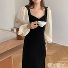 網紗連身裙 韓國秋季法式復古方領露鎖骨后開叉網紗拼接燈籠袖絲絨連身裙 愛丫 免運