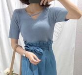 韓版V領豎紋短袖針織衫女上衣(7色可選)