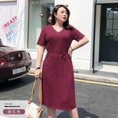 大碼女裝胖mm法式桔梗裙子2019新款小眾遮肚連身裙減齡夏款