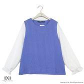 【INI】氣質實穿、荷葉袖條紋雪紡上衣.藍色