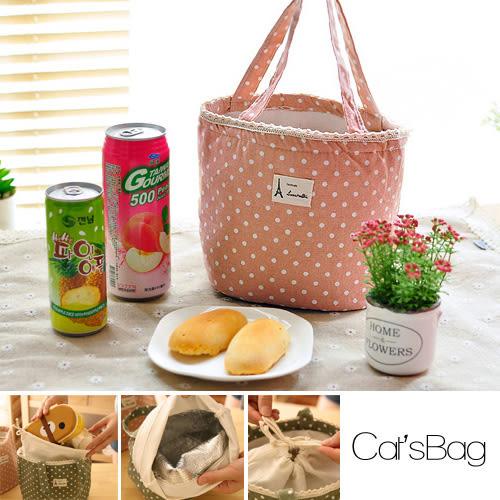 手提包-韓系復古蕾絲邊棉麻森林&點點系保溫便當包-Catsbag  298