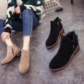 韓版新款英倫及踝靴百搭女靴平底短靴女鞋秋冬季馬丁粗跟裸靴【店慶滿月好康八五折】