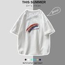 亞麻短袖男夏季韓版寬鬆大碼五分袖T恤潮流百搭學生半袖棉麻上衣 快速出貨