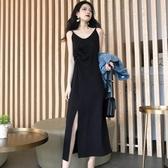 春裝新款裙子開叉背心裙修身黑色長裙西裝內搭吊帶裙洋裝女 伊衫風尚