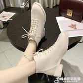 白色馬丁靴女英倫風新款春秋單靴粗跟黑色短靴帥氣機車靴小跟 時尚芭莎