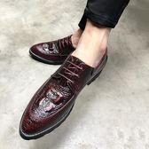 英倫男士皮鞋鱷魚紋流蘇套腳一腳蹬皮鞋男