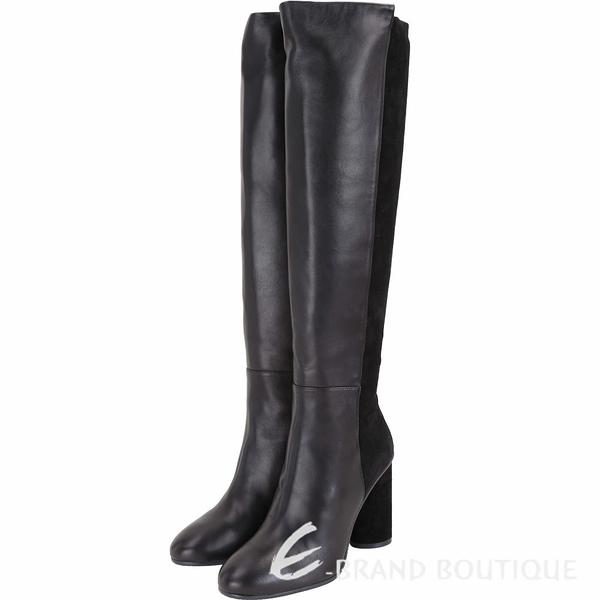 Stuart Weitzman ELOISE 95 皮革拼接及膝粗跟長靴(黑色) 1910041-01