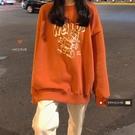 初秋顯白南瓜色MTM~韓系學院少女可愛卡通印花寬鬆加絨衛衣 黛尼時尚精品