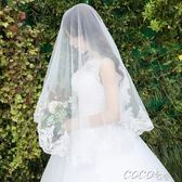 頭紗 新款 復古短款白色頭紗 新娘結婚紗影樓寫真旅拍配飾 coco衣巷