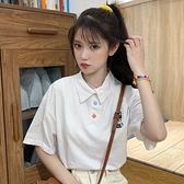 polo衫 新款夏季學院風可愛學生POLO領上衣寬鬆減齡白色短袖T恤女 - 風尚3C
