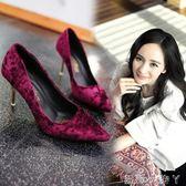 高跟鞋春秋酒紅色絨面中跟單鞋女OL黑色尖頭絲絨細跟女鞋單 蘿莉小腳丫